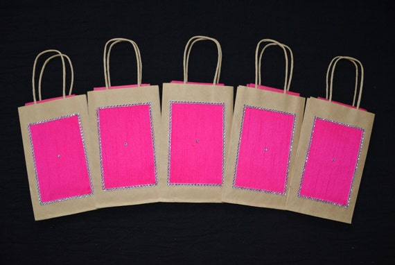 NEW! Gift Bags, Indian Wedding Gift Bags,Kraft Gift Bags,Hot Pink Raw ...