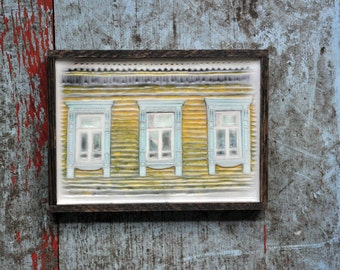Russian decorative dacha window. Original Encaustic Photography. Rostov, Russia. Fine art wall decor. Rustic. Yellow, baby blue. Framed 5x7