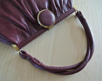 1960s Mod Handbag Retro Purse Genuine Leather Burgundy Oxblood by Etra