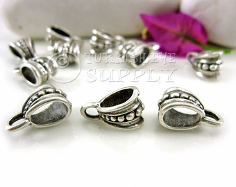 10 pc Antique Silver Plated Pendant Bail, Bohemian Jewelry Bail, Necklace Connector, Turkish Jewelry