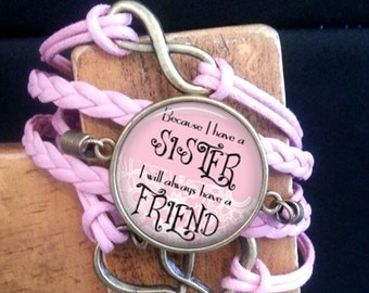 SALE! Braided Rope Bracelet - Pink - Because I have a Sister I will Always Have a Friend