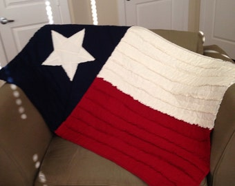 Texas Flag Rag Quilt - Ready to Ship