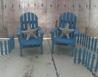 Adirondack chair cake topper set, beach wedding cake topper, wedding cake topper, beach wedding decor