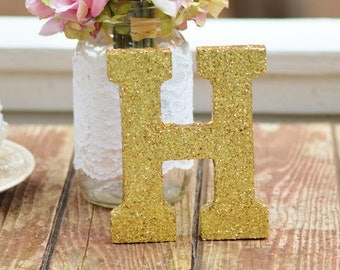 Gold wooden letter, initial, table numbers, photo prop, last initial table decor