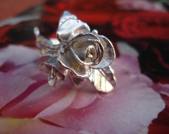Silver Roses Ring - Sterling Silver Roses Ring - Unique Roses Ring K41