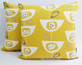 John Lewis Mid Century retro print Seedhead cushion cover - Mustard Yellow
