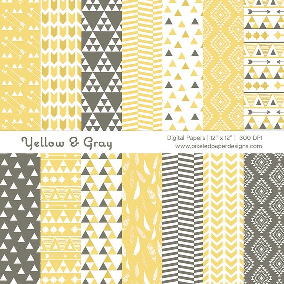 Yellow Tribal Digital Paper Pack - Aztec Inspired Ethnic Patterns for Scrapbooking, Background, etc | Commercial License Available.