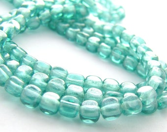 Luster Teal Czech Glass 4mm Cube Beads 100pc #2281