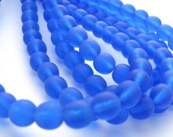 Matte Sapphire Blue  6mm Smooth Round Czech Glass Beads 50pc  #2704