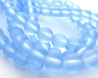 Matte Light Sapphire Blue  6mm Smooth Round Czech Glass Beads 50pc #2714