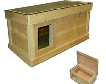 Ark Workshop Medium Outdoor Cat House wood shelter home ferals strays pets - LS SQ