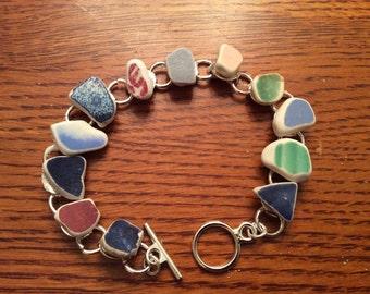 "Scottish Sea Glass Pottery Bracelet- size 8 1/2"" - Beautiful -New to Shop 0147"
