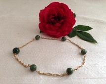SALE 14k Spinach Jade Bead Bracelet.