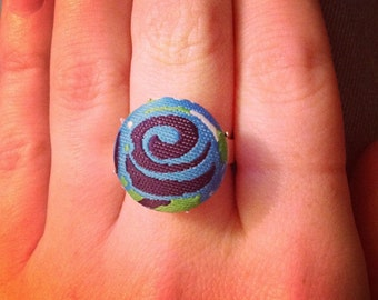 Button Ring - Blue Swirl