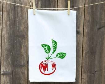 Apple Dish Towel, Gift for Mom, Gift for Cook, Funny Kitchen Towel, Hostess Gift, Housewarming Gift, Tea - Flour Sack Towel, Shower Gift