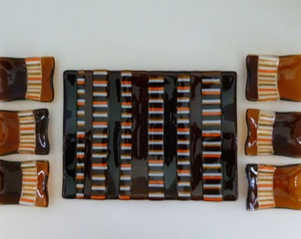 Seven Piece Fused Glass Sushi Dish Set