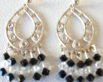 Feathers, Sterling Silver, Swarovski Crystal, Black, White, Post Earrings, Filigree, Gift Idea