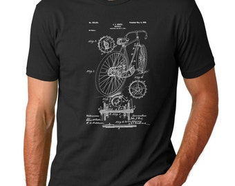 Racing Bicycle Patent TShirt, Cycling Shirt, Bicycle T Shirts, Bicycle Parts, PP0025