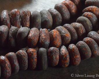 Molten Pebbles (12) - Czech Glass Bead - 5x9mm - Chunky Nugget