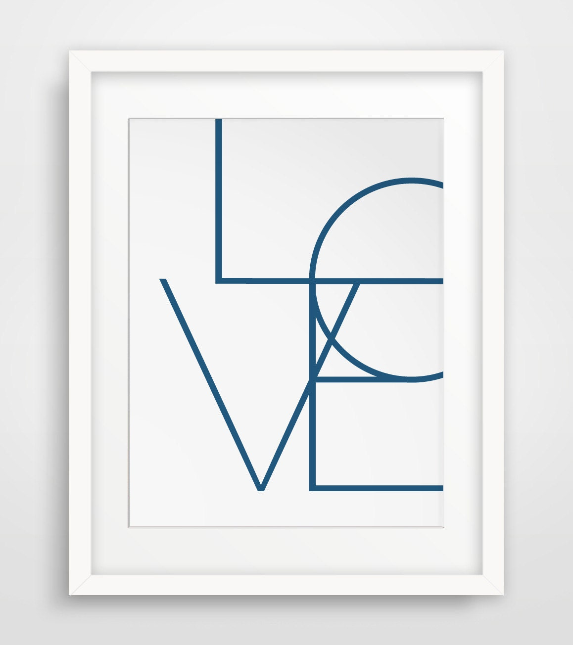 love wall print navy art geometric prints blue decor love. Black Bedroom Furniture Sets. Home Design Ideas