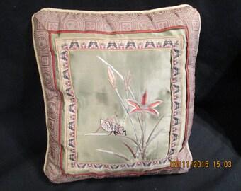 Pair of Asian silk pillows