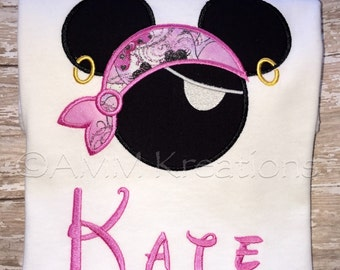 Personalized Minnie Mouse Pirate with a Pink Bandana and Eyepatch Applique Shirt for Girls