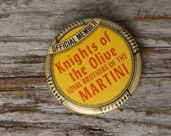 Vintage Advertising Button Pin, Kitsch Martini Button Pin