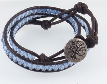 Tree of Life Baby Boy Blue Wrap Bracelet, Leather Wrap Bracelet