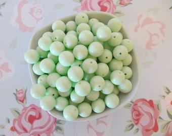 Bubble Gum Beads-Spearmint Green-20mm-Set of 10-Supplies-DIY-Necklaces-Custom Color
