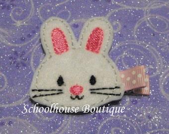 Pink Easter Bunny Rabbit Felt Hair Clips, Easter Basket Filler, Feltie hair clip, Feltie, Felt Hair Clippie, Felt Hair Bow
