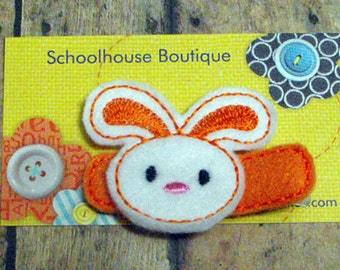 Orange Bunny felt Hair Clips, Easter Basket Filler, Felties, Felt Hair Clips, feltie hair clip, Felt Hair Clippie, Hair Accessories
