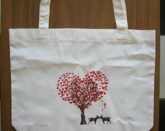 American Apparel Cotton Tote, GOAT love Print, Made in the USA bag