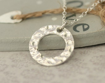Silver Circle necklace, Handmade silver necklace, Circle necklace, Dainty jewelry, Simple silver necklace, Simple jewelry, silver jewelry