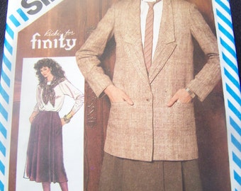 Simplicity 6064, Size 14, womens, misses, skirt, jacket, UNCUT sewing pattern, craft, supplies