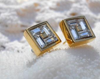 Vintage Square Rhinestone Post Earrings