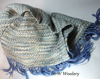 alpaca, cotton, silk, merino scarf, hand woven, Hand spun yarn, blue, white