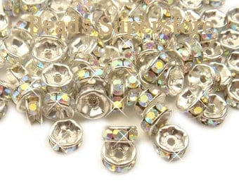 6 mm Crystal AB Silver-Plated Brass Crystal Rhinestone Rondelle - Grade AAA - Nickel Free and Lead Free - 20 pcs
