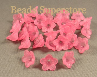 SALE 13 mm x 7 mm Deep Pink Lucite Flower Bead - 20 pcs