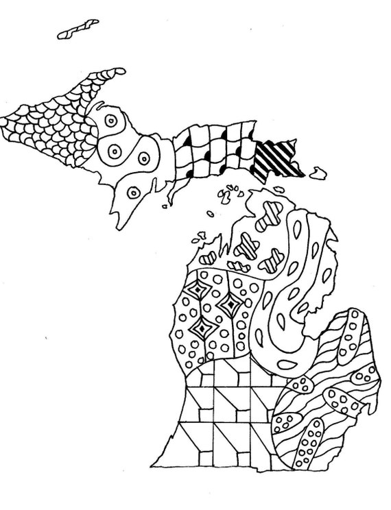 Printable Coloring Page Zendoodle State Map Of Michigan