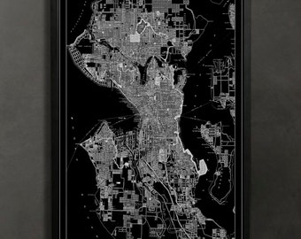 SEATTLE Map Print Poster