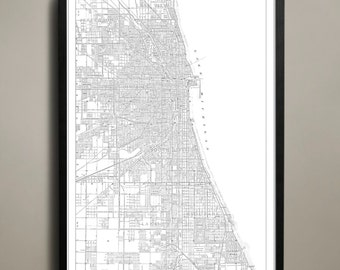 Chicago City Map - Chicago City Poster - Chicago City Print - Chicago Map - Chicago Map Print - Chicago Poster - Map of Chicago City