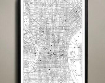 Philadelphia City Map - Philadelphia City Poster - Philadelphia Map - Philly Map Print - Philadelphia Poster - Map of Philly City