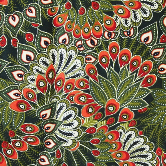 Green Peacock Thai Traditional Print Thai Batik By TheThailand