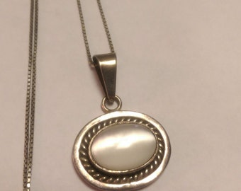 Necklace Pendant Mother of Pearl Sterling Silver Southwest Statement Piece