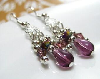 Chandelier earrings -50% OFF, Dangle earrings, Silver earrings, Purple earrings, Jewelry earrings, Handmade earrings, jewellery,  UK seller
