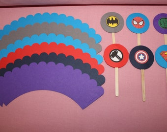 12 Super Hero Cupcake Flags and Wrappers