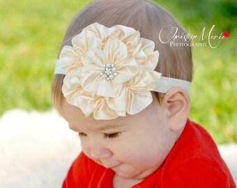 Cream flower headband, baby headband, flower girl, newborn girl headband, cream headband, infant headband,flower headband,flower girl