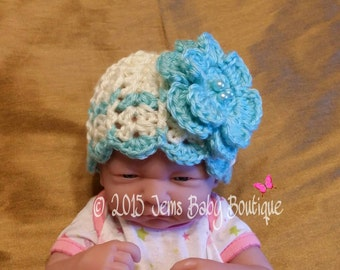 Adorable Newborn Hanna hat with Large flower and faux perarls, Made to Order, Robins Egg and Off white, Newborn Girl flower hat