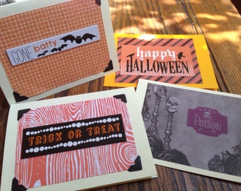 Set of 4 Halloween Cards-all different.