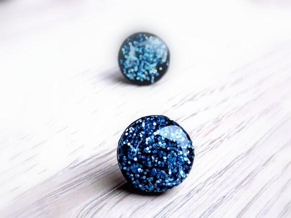 blue glitter stud earrings glitter earrings glitter jewelry